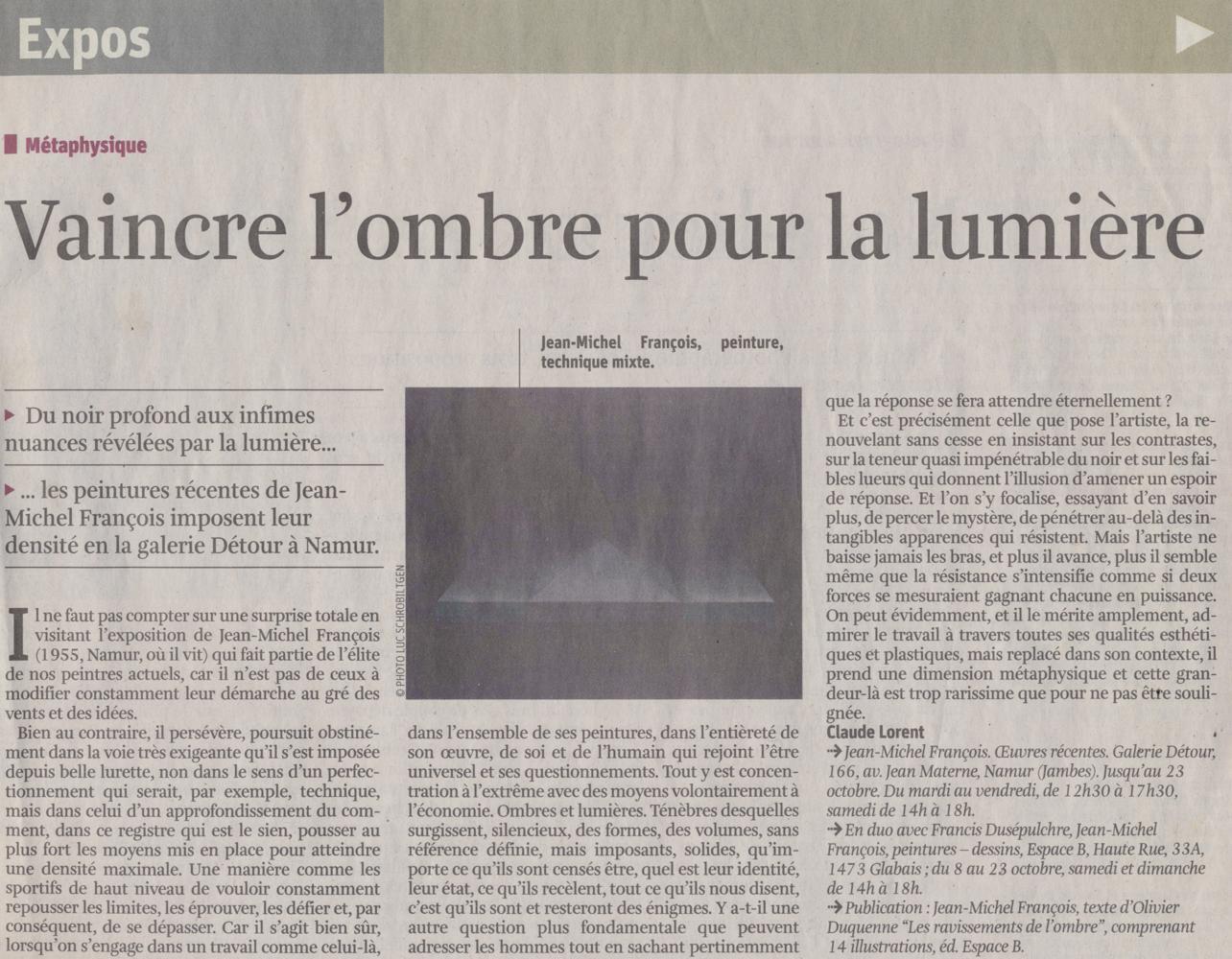 """La Libre Belgique """" La Libre Culture"""" 28 septembre 2011L"""