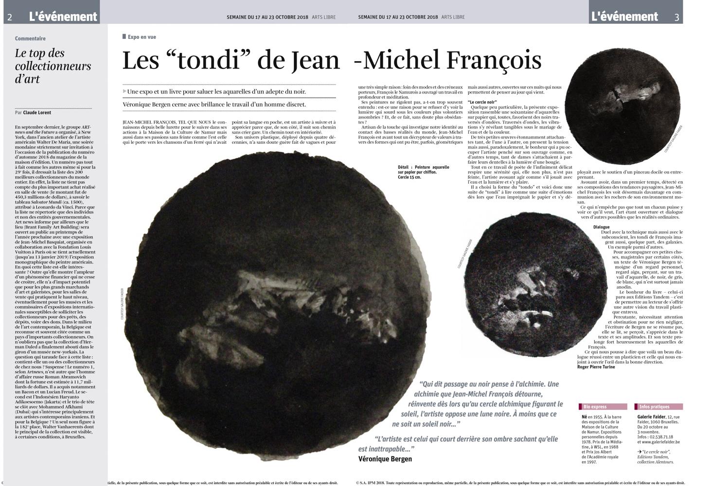 """La Libre Belgique """"arts libres""""n°42, 17  octobre 2018"""