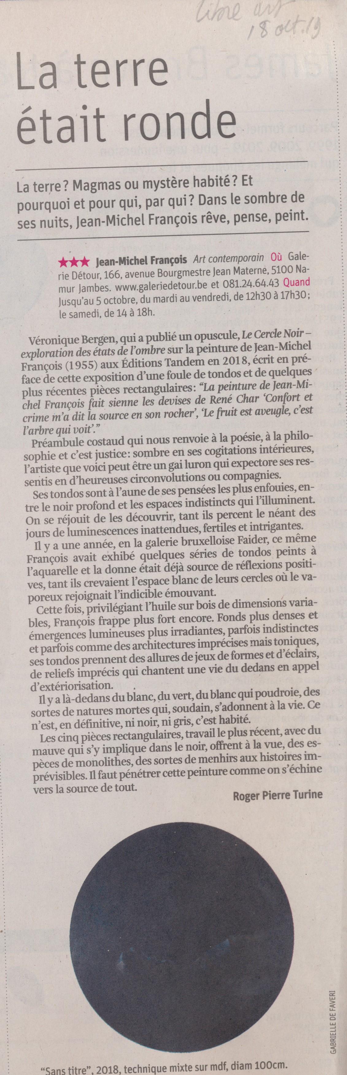 """La Libre Belgique """"Arts Libres"""" n° 36 18 septembre 2019"""